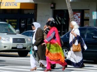 Woman wearing saris in California