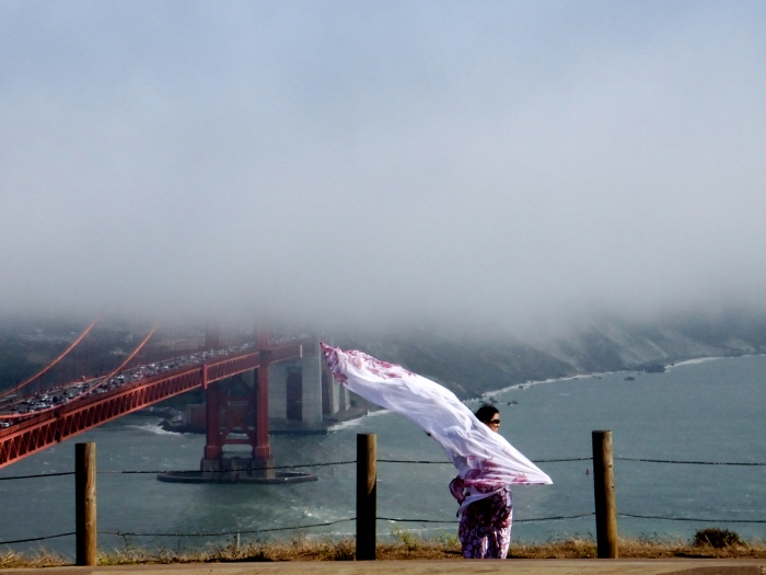 Scarf woman at Golden Gate
