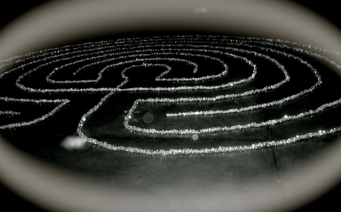 Every year just before Winter Solstice my husband and I build a labyrinth of tinsel to be walked in the dark so as to reach the center and stand still just as the earth seems on the longest night of the year