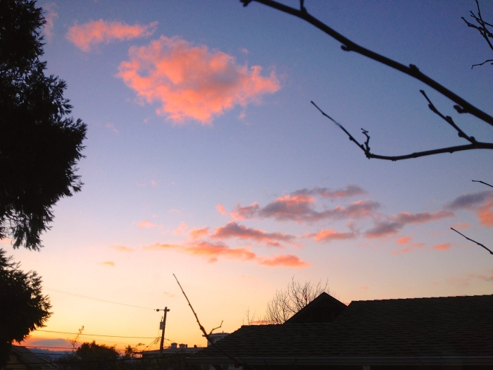 Sunrise 1/1/2013. Pink  float cloud drifting South to Pasadena for the Rose Parade!