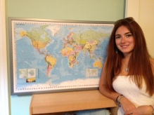 Student from next door with our world map.