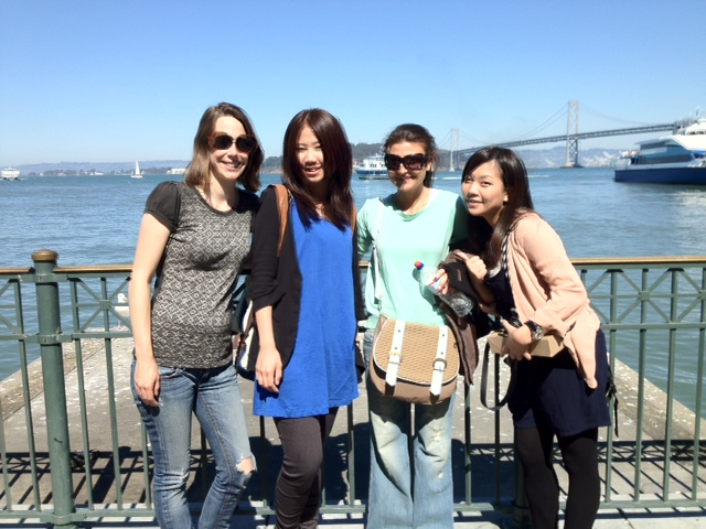 Students taking a tour of SF Embarcadero last Summer with our daughter, Jessie far left, She works at the language school Intrax.