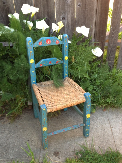 Little blue chair my grandfather brought from Mexico for me when I was 6. I