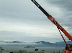 Crane over the Bay From the San Francisco Bay Bridge Looking toward Angel Island.