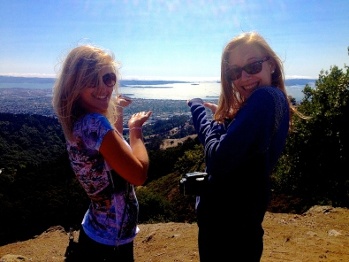 Marie and Justine point the way to San Francisco Bay. The Golden Gate Bridges is out there somewhere