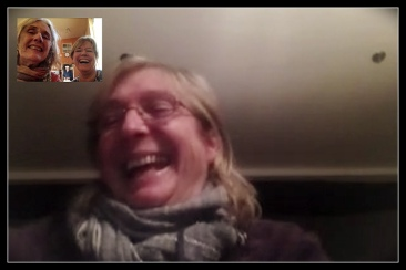 Screen shot of Kathy, Joss Burnel and me on FaceTime
