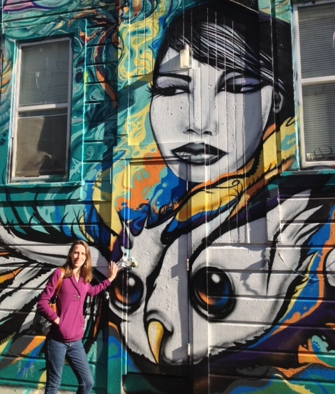 Daughter Jessie and Mission Mural