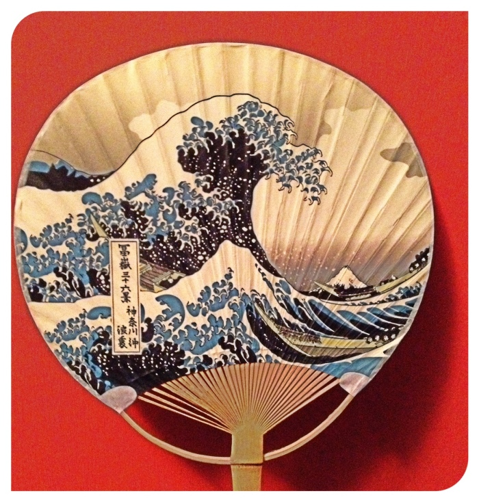 Classic Japanese image of the Wave on a fan