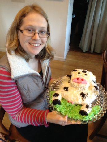 Nora made a cow cake for her mother