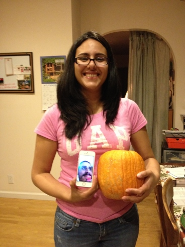 Tataina with the pumpkin she cooked for us