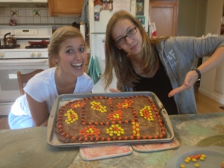Marie and Justine made a racetrack cake