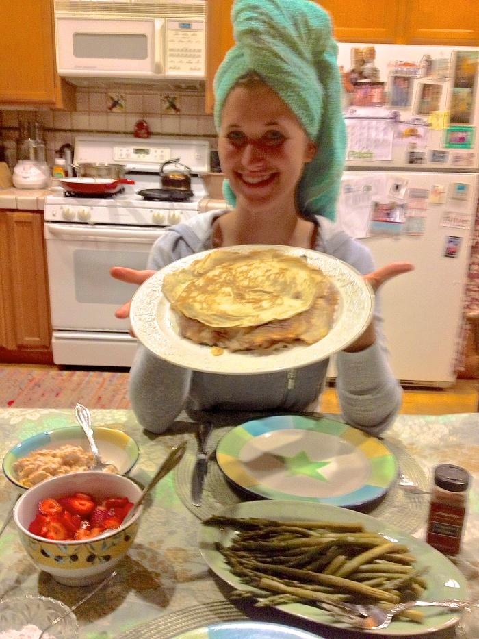 Marie, the Goddess of Pancakes, serving up Czech pancakes!