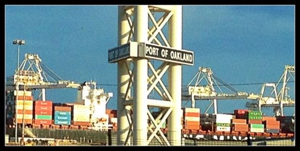 Shipping containers and Star Wars inspiring Cranes at the Port of Oakland