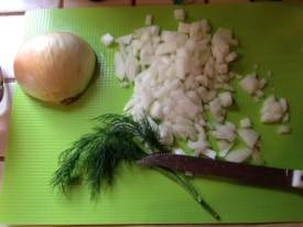 chop onions and dill