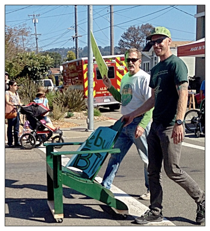 Green Chair on wheels