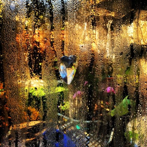 Light through crystal and rain