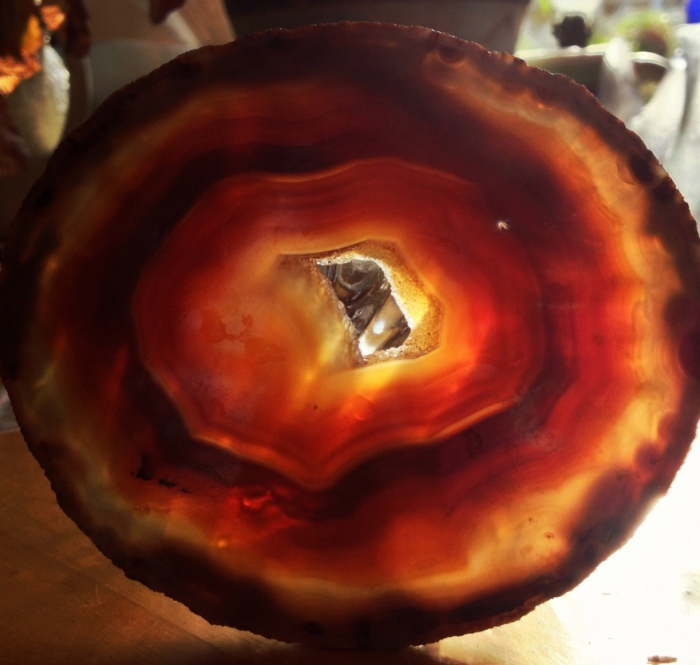 Light through a clive of a geode