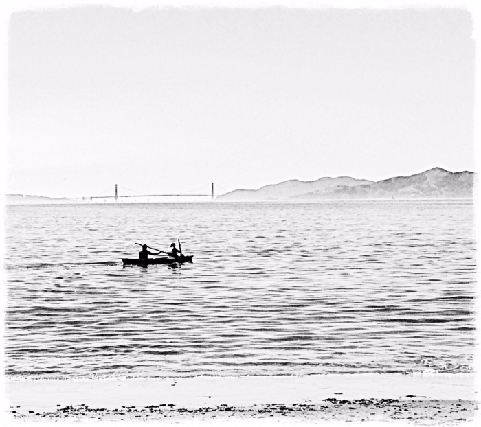 Paddling on the bay