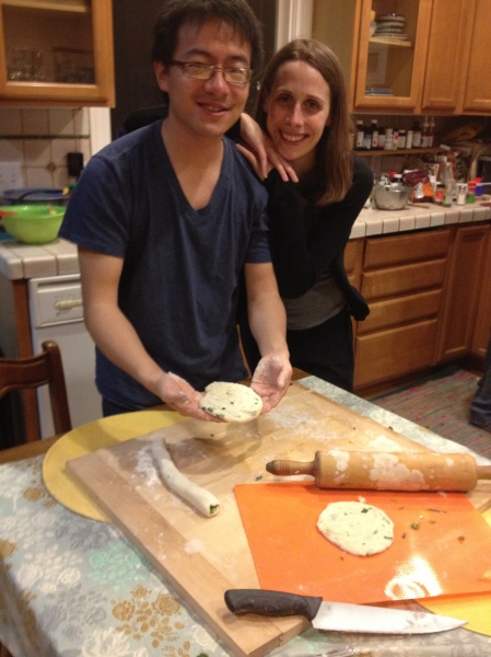 Daniel and Jessie make onion cakes for New Moon festival
