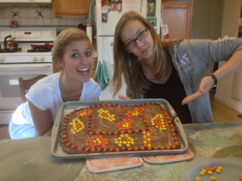 Marie and Justine made a race track cake
