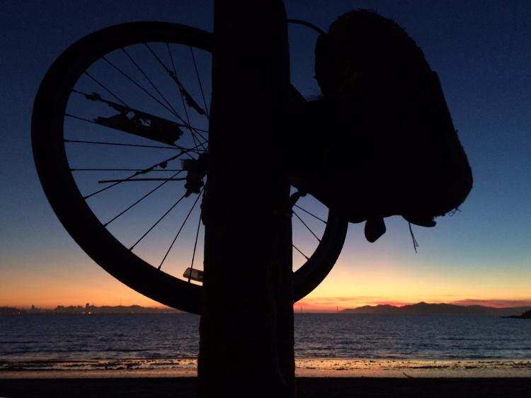 Strange sculpture framing SF Bay Sunset iPhone