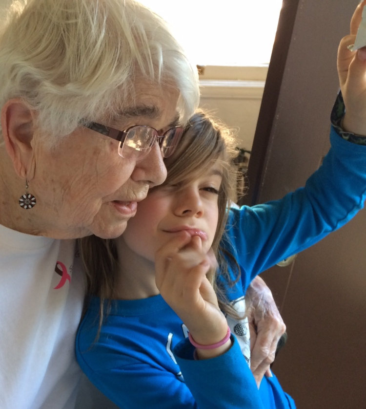 Straight on: Beth with her grandson Arrow