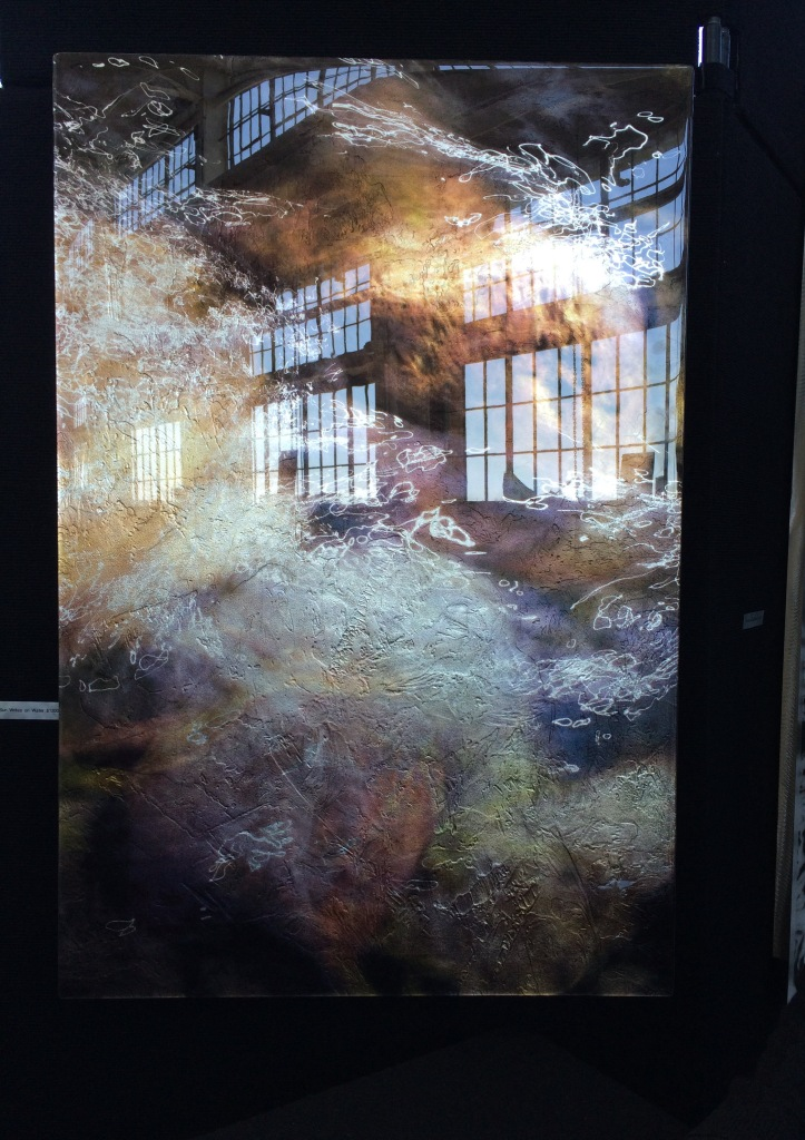 The windows of Crain Way Pavilion reflected