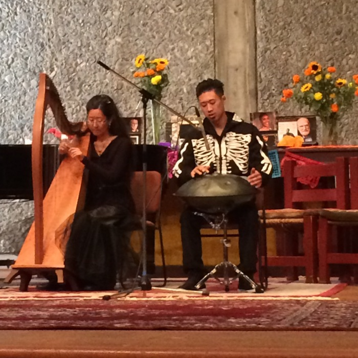Harp and steel drum Play for Day of the Dead