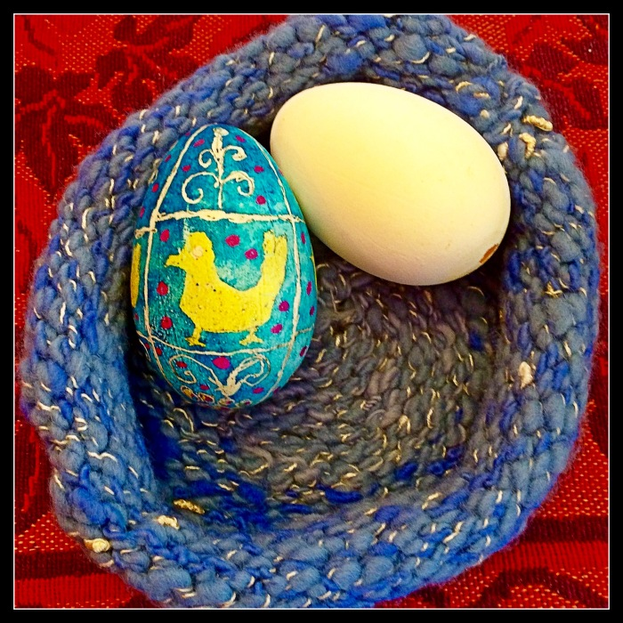 Goose Easter Egg In knit nest