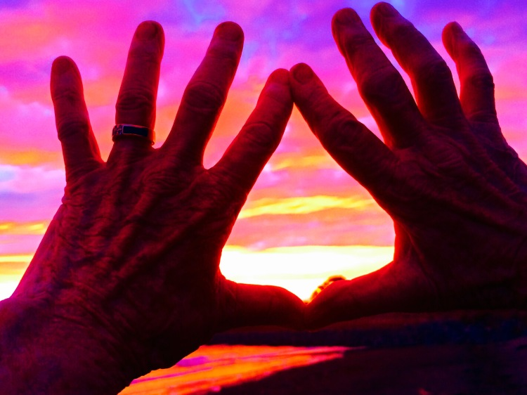Lisa's Hands at Solstice sunset