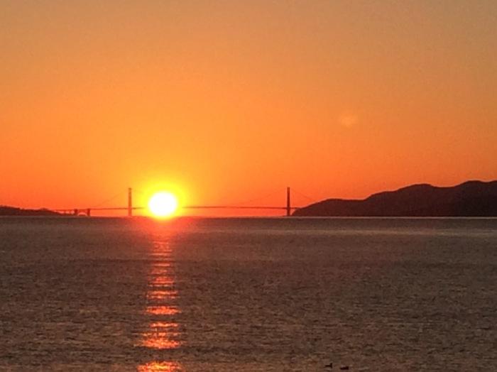 Path of Solstice Sunset Behind Golden Gate Bridge