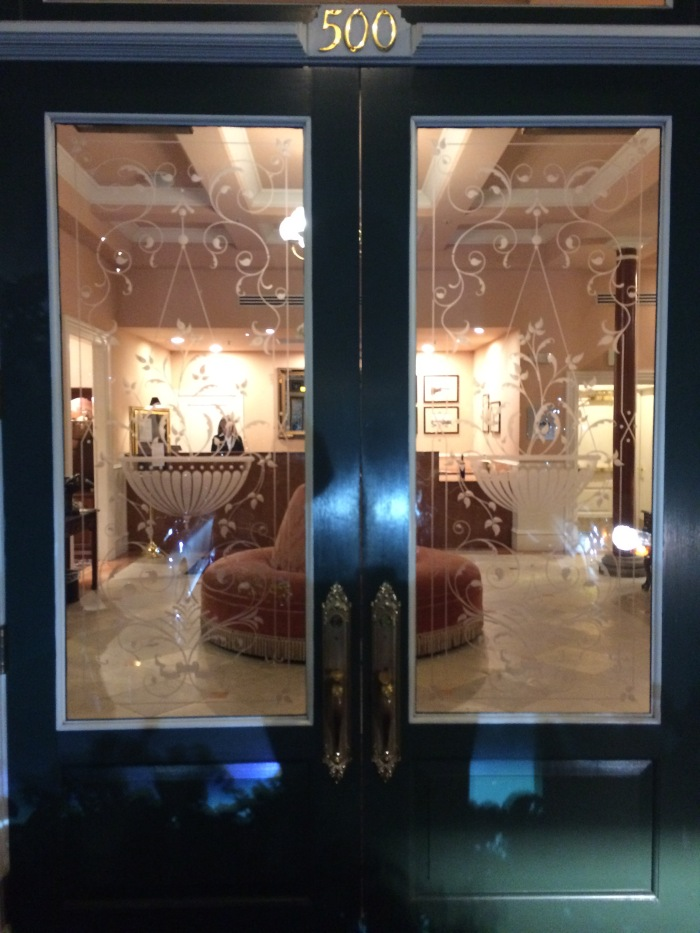 Fancy Etched Glass Hotel Door