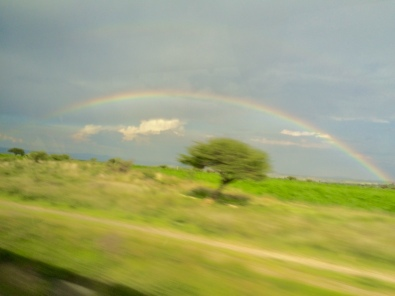 Rainbow captured from bus in Mexico