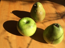 Three green fruit