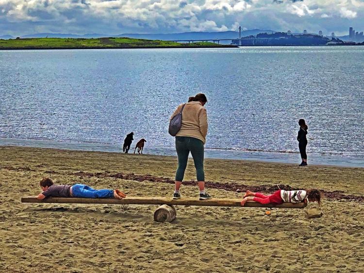 Balancing at the beach