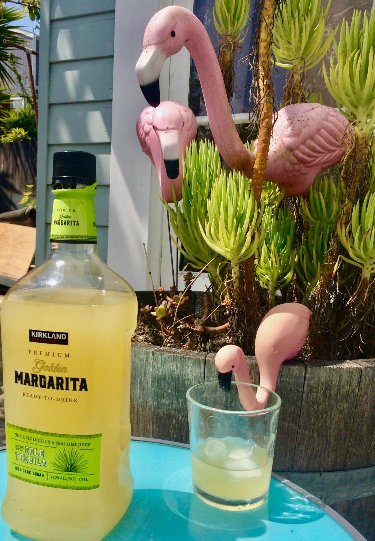 Flamingos and bottle