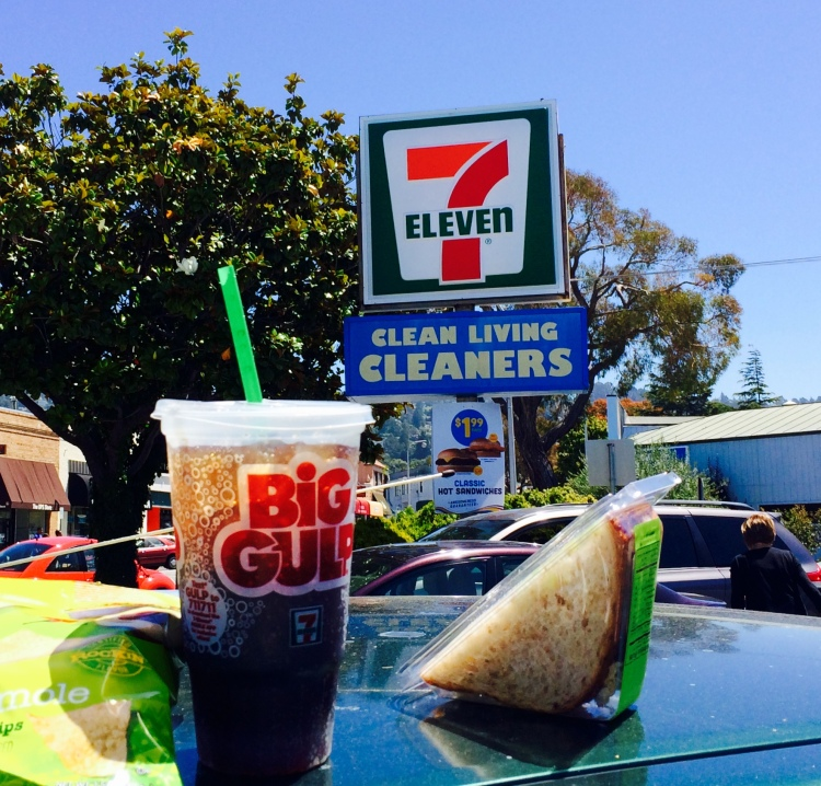 Big gulp and 7/11 sign